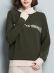 Letter Long Sleeve Intarsia H-line Casual Knitwear