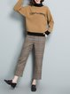 Casual Long Sleeve H-line Stand Collar Color-block Knitwear