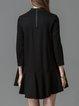 A-line Paneled Stand Collar 3/4 Sleeve Girly Mini Dress