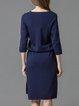 Dark Blue High Low Girly Letter Printed Midi Dress