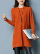 Casual Long Sleeve Slit Plain Midi Dress
