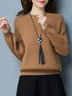 Khaki Solid Knitted Long Sleeve Crew Neck Sweater