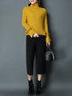 Bell Sleeve Plain Casual Knitted Turtleneck Sweater