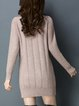 Camel Long Sleeve Knitted Sweater Dress