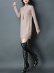 Knitted Sheath Plain Casual Long Sleeve Sweater Dress