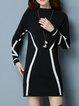 Stand Collar Midi Dress Shift Daytime Long Sleeve Knitted Dress