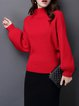 Casual Solid Balloon Sleeve Turtle Neck Ribbed Sweater