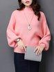Casual Slash Neck Balloon Sleeve Sweater