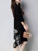 Long Sleeve Knitted Casual Intarsia Midi Dress
