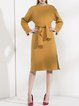 Yellow Solid Slit Wool Blend Casual Knitted Sweater Dress