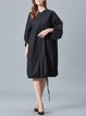 Black Solid Casual Gathered Stand Collar Midi Dress