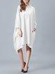 Casual Asymmetric High Low Long Sleeve Solid Midi Dress