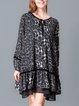 Deep Gray Shift Tie-neck Long Sleeve Midi Dress