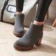 Gray Zipper Chunky Heel PU Winter Ankle Boots