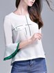 White Crew Neck Casual Pockets Top