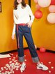 Blue Washed Casual Shift Wide Leg Pants