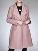Casual A-line Solid Long Sleeve Wool Blend Coat