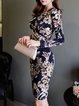 Dark Blue Sheath Surplice Neck Floral Long Sleeve Midi Dress
