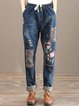 Dark Blue Casual Washed Floral Jeans