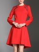 Crew Neck High Low Casual Asymmetric Long Sleeve Midi Dress