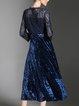 Dark Blue Elegant Paneled Flounce Plain Midi Dress