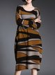 Intarsia Long Sleeve Knitted Casual Cocoon Sweater Dress