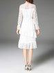 Bell Sleeve Casual Lace Flounce Midi Dress