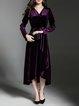 Long Sleeve High Low Wrap Elegant Midi Dress