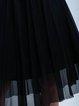 Black Casual Solid Gathered Midi Skirt