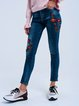 Blue Casual Embroidery Bodycon Floral Jeans