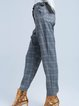 Red Ruffled Casual Checkered/Plaid Straight Leg Pants