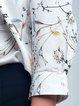 White 3/4 Sleeve Floral Printed V Neck Blouse