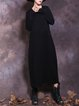 Crew Neck Casual Solid Long Sleeve Cotton Dress