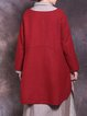 Plus Size Casual Crew Neck Long Sleeve Solid Top