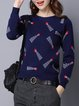 Dark Blue Knitted Casual Sweater