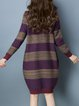 Cocoon Color-block Crew Neck Casual Long Sleeve Sweater Dress