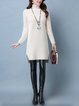 Casual Long Sleeve Turtleneck High Low Sweater Dress