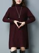 Solid Long Sleeve Casual Turtleneck Sweater Dress