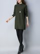 Dark Green Casual Stand Collar Plain Sweater Dress