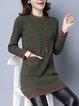Sheath Pockets Long Sleeve Knitted Casual Midi Dress