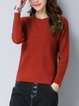 Crew Neck Casual Plain Long Sleeve Sweater