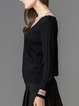 Black V Neck Knitted Casual Sweater