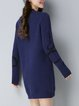 Casual Sheath Long Sleeve Knitted Crew Neck Sweater Dress