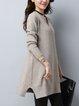 Plus Size Casual H-line V Neck Long Sleeve Zipper Midi Dress