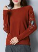Gray Animal Long Sleeve Embroidered Sweater