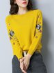 Knitted Embroidered Casual Animal Long Sleeve Sweater