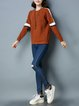 Casual Color-block Crew Neck Long Sleeve Knitted Sweater