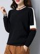 Black Casual Color-block Crew Neck Sweater