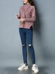 Pink Casual Stand Collar Knitted Sweater