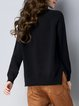 Black Asymmetric Solid Knitted Casual Sweater